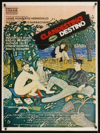 9t023 CLANDESTINO DESTINO Mexican poster '87 really cool Tafoya art of nude guy at picnic!