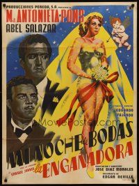 9t024 LA ENGANADORA Mexican poster '55 beautiful bride being shot by Cupid, The Deceiver!