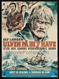 9t028 LEGEND OF SEA WOLF Swedish 24x33 '77 art of grizzled Chuck Connors & cast at sea!