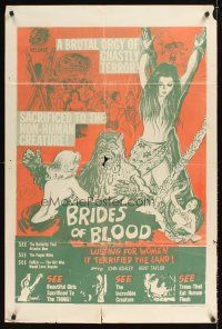 9t016 BRIDES OF BLOOD Trinidadian '68 wacky art of monster with natives & sexy women in peril!