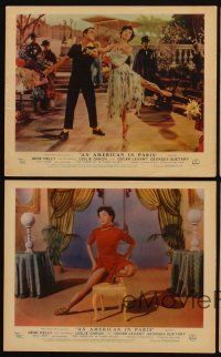 9y071 AMERICAN IN PARIS 4 color English FOH LCs '51 Gene Kelly dancing with sexy Leslie Caron!