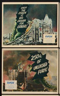 9y012 GORGO 8 color English FOH LCs '61 great images of giant monster terrorizing city!