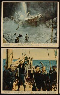 9y075 GUNS OF NAVARONE 4 color English FOH LCs '61 Gregory Peck, David Niven & Anthony Quinn!