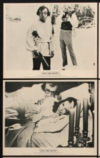 9y052 LOVE & DEATH 7 English FOH LCs '75 Woody Allen & Diane Keaton romantic kiss close up!