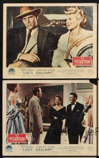 9y066 LUCY GALLANT 5 color English FOH LCs '55 Jane Wyman, Charlton Heston, Claire Trevor