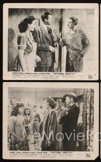 9y078 SITTING PRETTY 4 English FOH LCs '48 Webb as Mr. Belvedere, Robert Young, Maureen O'Hara