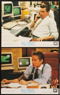 9y046 WALL STREET 8 color English FOH LCs '87 Michael Douglas, Charlie Sheen, Daryl Hannah, Stone