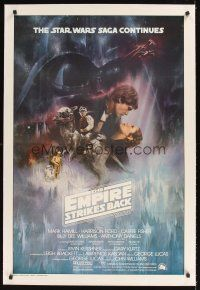1a321 EMPIRE STRIKES BACK linen int'l 1sh '80 George Lucas classic, GWTW art by Roger Kastel!