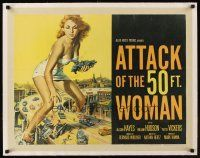 1a002 ATTACK OF THE 50 FT WOMAN linen 1/2sh '58 classic art of enormous Allison Hayes over highway!