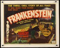 1a001 FRANKENSTEIN linen 1/2sh R51 great close up of Boris Karloff as the monster!