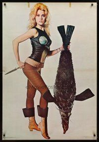 1b009 BARBARELLA commercial poster '68 Jane Fonda and penguish, recalled for legal problems, rare!