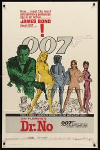 1c091 DR. NO white smoke 1sh '62 Sean Connery is the most extraordinary gentleman spy James Bond 007