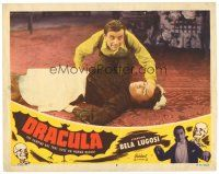 1c293 DRACULA LC #6 R51 Tod Browning, Dwight Frye as Renfield over fallen housemaid!