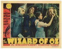 1c448 WIZARD OF OZ LC '39 Ray Bolger & Jack Haley watch Judy Garland wiping Bert Lahr's tears!