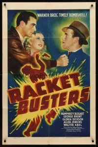 1c120 RACKET BUSTERS 1sh '38 mobster Humphrey Bogart blackmails George Brent into joining him!