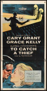1d096 TO CATCH A THIEF 3sh '55 romantic close up art of Grace Kelly & Cary Grant, Alfred Hitchcock