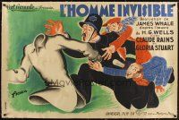 1d001 INVISIBLE MAN linen French 31x47 '33 James Whale, incredible different Fiora fx art!