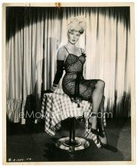 1m013 ADELE JERGENS 8x10 still '44 in sexy outfit with fishnet stockings on table by St. Hilaire!