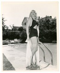 1m014 ADELE JERGENS 8x10 still '48 full-length by swimming pool in sexy swimsuit by Joe Walters!
