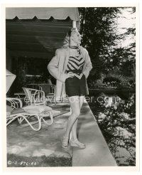 1m016 ADELE JERGENS 8x10 still '47 smiling full-length with hands on hips by pool by Joe Walters!