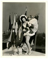 1m031 ANN MILLER 8x10 still '44 in sexiest Santa outfit by flags of the Allied Nations!