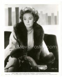 1m043 BACK STREET 8x10 still '61 close up of sad Susan Hayward wearing wonderful fur-trimmed coat!