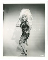 1m044 BARBARA NICHOLS 8x10 still '60s full-length in sexy dress with feathered headpiece!