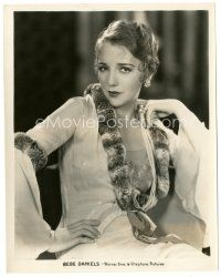 1m047 BEBE DANIELS 8x10 still '30s seated portrait wearing wonderful dress & pearls!