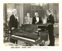 1m049 BEFORE I HANG 8x10 still '40 Boris Karloff, Edward Van Sloan & Evelyn Keyes by piano!