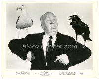 1m001 BIRDS candid 8x10 still '63 wonderful image of director Alfred Hitchcock w/birds on shoulders