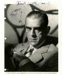 1m062 BORIS KARLOFF 8x10 key book still '44 great seated close up portrait smoking pipe!