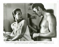 1m068 BREATHLESS 8x10 still '83 Richard Gere smiles at sexy Valerie Kaprisky wearing only a towel!