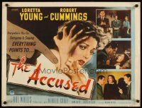 1y009 ACCUSED style A 1/2sh '49 close art of terrified sexy Loretta Young & pointing finger!