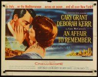 1y011 AFFAIR TO REMEMBER 1/2sh '57 romantic close-up art of Cary Grant about to kiss Deborah Kerr!