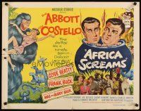 1y012 AFRICA SCREAMS style B 1/2sh '49 wacky art of Bud Abbott & Lou Costello cooking in cauldron!