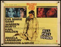 1y015 ALL FALL DOWN 1/2sh '62 Warren Beatty, Eva Marie Saint, Karl Malden, John Frankenheimer