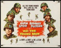 1y016 ALL THE YOUNG MEN 1/2sh '60 Alan Ladd & Sidney Poitier deal w/race relations in Korean War!