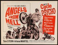 1y020 ANGELS FROM HELL 1/2sh '68 AIP, image of motorcycle-psycho biker, he's a cycle psycho!