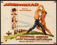 1y027 ARROWHEAD 1/2sh '53 art of Charlton Heston fighting Native American Jack Palance!