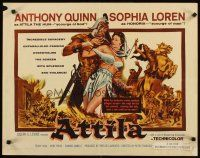 1y030 ATTILA style A 1/2sh '58 art of Anthony Quinn as The Hun grabbing sexy Sophia Loren!