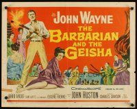 1y037 BARBARIAN & THE GEISHA 1/2sh '58 John Huston, art of John Wayne with torch & Eiko Ando!
