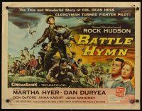 1y038 BATTLE HYMN style A 1/2sh '57 art of Rock Hudson as clergyman turned fighter pilot!