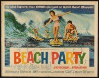 1y040 BEACH PARTY 1/2sh '63 Frankie Avalon & Annette Funicello riding a wave on surf boards!
