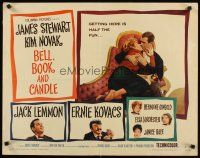 1y042 BELL, BOOK & CANDLE style B 1/2sh '58 James Stewart, sexiest witch Kim Novak, Jack Lemmon!