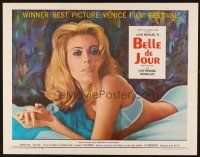 1y043 BELLE DE JOUR 1/2sh '68 Luis Bunuel, close up of sexy half-dressed Catherine Deneuve!