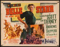 1y044 BELLE STARR style B 1/2sh '41 great close up of Gene Tierney drawing gun, Randolph Scott