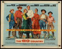 1y049 BIG COUNTRY style A 1/2sh '58 Gregory Peck, Charlton Heston, William Wyler classic!