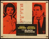 1y056 BLACK ORCHID style B 1/2sh '59 Anthony Quinn, Sophia Loren, a story of love, by Martin Ritt!