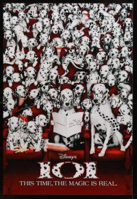 2c006 101 DALMATIANS int'l teaser 1sh '96 Walt Disney live action, dogs in theater!