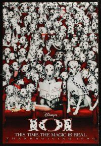 2c007 101 DALMATIANS teaser DS 1sh '96 Walt Disney live action, dogs in theater!